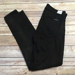 Hudson Krista Super Skinny Black Button Fly Jeans